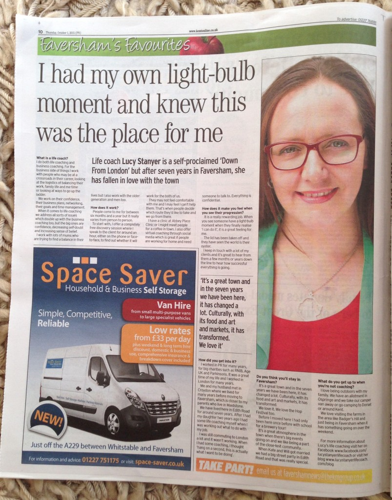 Faversham News 1 October 2015 - full page spread about Lucy Stanyer Life Coach. www.lucystanyerlifecoach.com