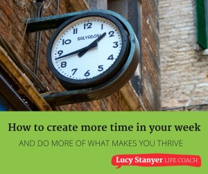 How to create more time in your week - free workbook from Lucy Stanyer Life Coach www.lucystanyerlifecoach.com