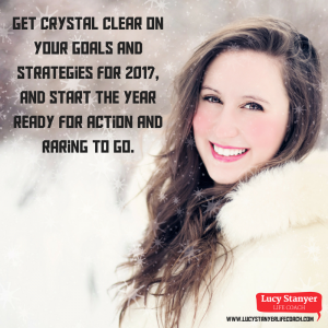 "[Image: woman in the slow and text saying ""Get crystal clear on your goals and strategies for 2017 and start the year ready for action and raring to go. [Image of woman deep in thought] New blog post by Lucy Stanyer: Get unstuck for 2017 and jump start your business plan"