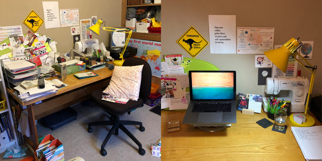Desk - before and after lucystanyerlifecoach.com delutter for clarity marie kondo blog