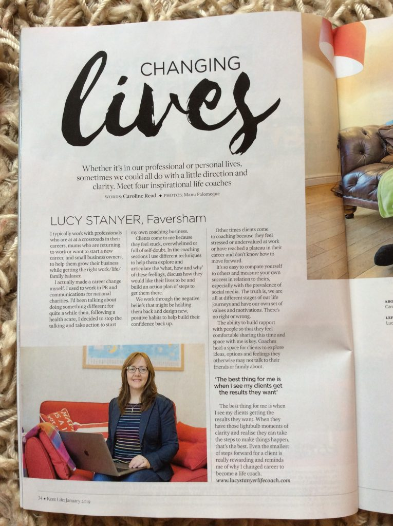 Kent Life Jan 2019 - my page www.lucystanyerlifecoach.com